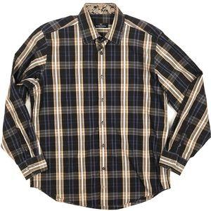 Bugatchi brown plaid shirt with paisley trim